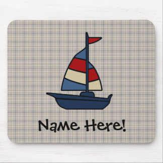 Personalized Nautical Sailboat Blue/Tan Boy's Mouse Pad