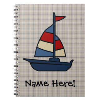 Personalized Nautical Sailboat Blue/Tan Boy's Notebook