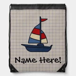 Personalized Nautical Sailboat Blue/Tan Boy's Cinch Bags