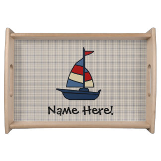 Personalized Nautical Sailboat Blue/Tan Boy's Serving Tray