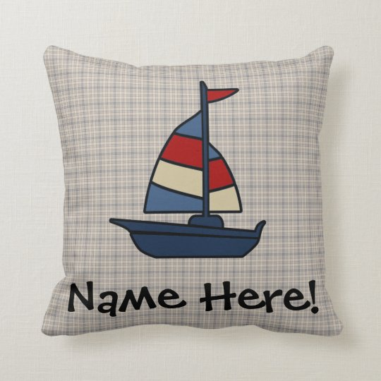 Personalized Nautical Sailboat Blue/Tan Boy's Throw Pillow