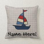 Personalized Nautical Sailboat Blue/Tan Boy's Throw Pillow