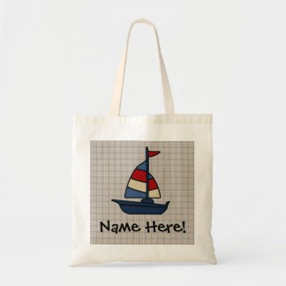 Personalized Nautical Sailboat Blue/Tan Boy's Tote Bag