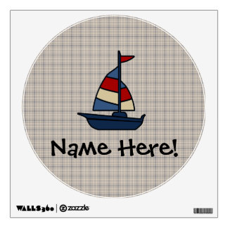 Personalized Nautical Sailboat Blue/Tan Boy's Wall Decal