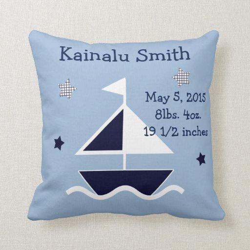 "Personalized ""Nautical/Sailboat"" Keepsake Pillow"