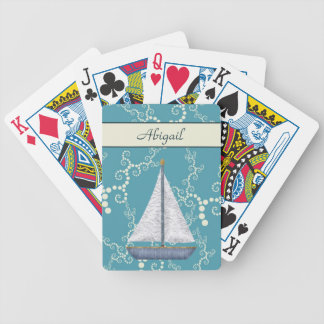 Personalized Nautical Sailboat Playing Cards
