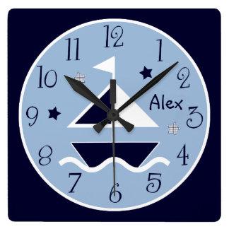 Personalized Nautical Sailboat & Stars Cute Clock
