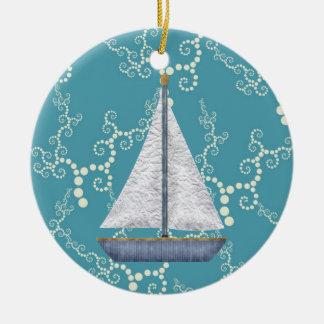 Personalized Nautical Sailboat Swirling Water Ceramic Ornament