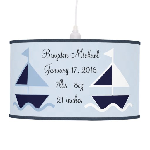 Personalized Nautical Sailboats Nursery Lamp