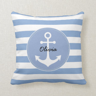 personalized nautical serenity blue and white throw pillow