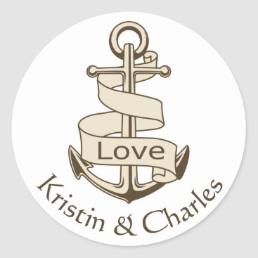 Beach Themed Personalized Nautical Ship Anchor Brown Love Classic Round Sticker
