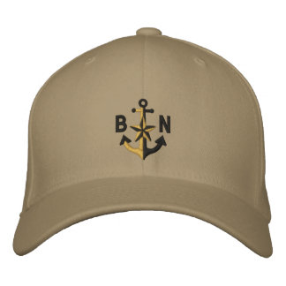 Personalized Nautical Star Black Anchor Monogram Embroidered Baseball Hat