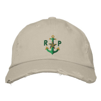 Personalized Nautical Star Green Anchor Monogram Embroidered Hat