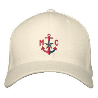 Personalized Nautical Star Red Anchor Monogram Cap