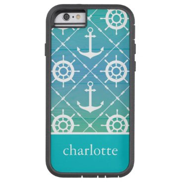 Personalized Nautical turquoise Tough Xtreme iPhone 6 Case