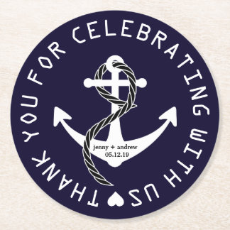 Personalized Nautical Wedding Favor Party Coaster Round Paper Coaster
