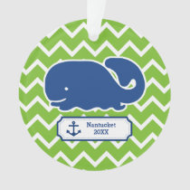 Personalized Nautical Whale Anchor Green Chevron Ornament
