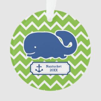 Personalized Nautical Whale Anchor Green Chevron Ornament
