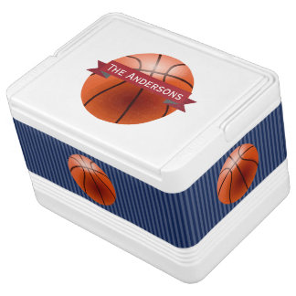 Personalized Navy and Red Basketball Sports Drink Cooler