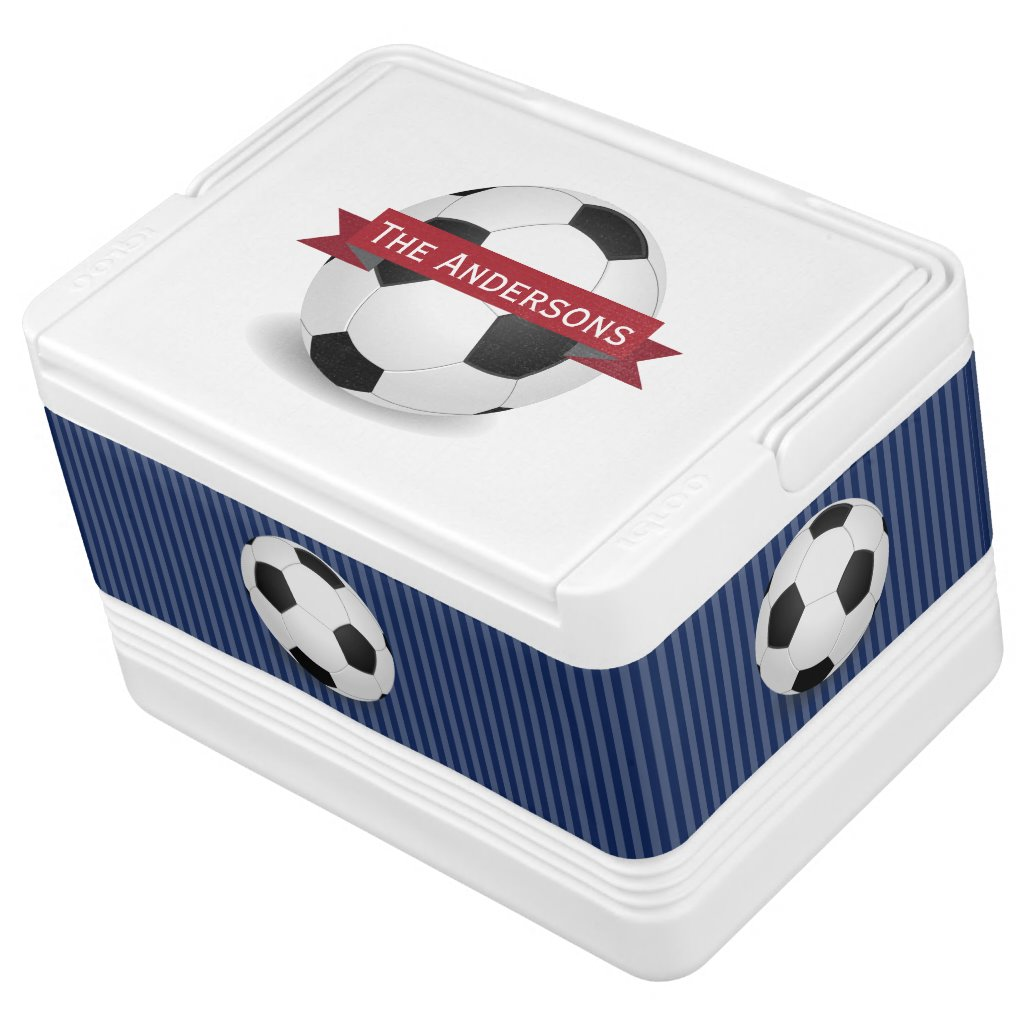 Personalized Navy and Red Soccer Sports Cooler