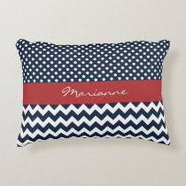 Personalized Navy and white nautical design Accent Pillow