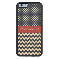 Personalized Navy and white nautical design Carved Maple iPhone 6 Bumper Case