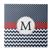 Personalized Navy and white nautical design Ceramic Tile