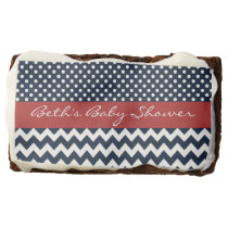 Personalized Navy and white nautical design Chocolate Brownie