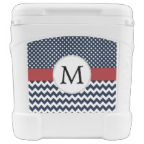 Personalized Navy and white nautical design Cooler