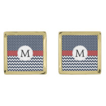 Personalized Navy and white nautical design Cufflinks