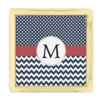 Personalized Navy and white nautical design Gold Finish Lapel Pin