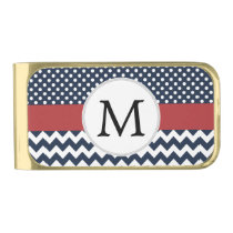 Personalized Navy and white nautical design Gold Finish Money Clip