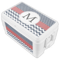 Personalized Navy and white nautical design Ice Chest