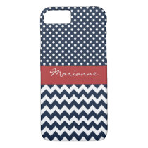 Personalized Navy and white nautical design iPhone 7 Case