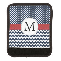 Personalized Navy and white nautical design Luggage Handle Wrap