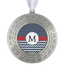 Personalized Navy and white nautical design Pewter Ornament