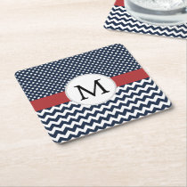 Personalized Navy and white nautical design Square Paper Coaster