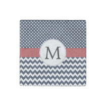 Personalized Navy and white nautical design Stone Magnet