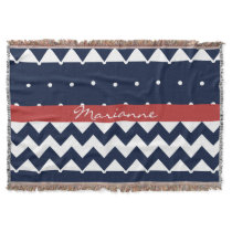 Personalized Navy and white nautical design Throw Blanket