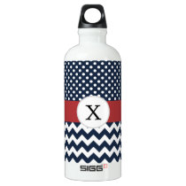 Personalized Navy and white nautical pattern Aluminum Water Bottle
