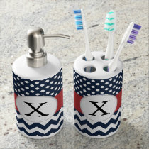 Personalized Navy and white nautical pattern Bathroom Set