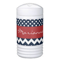 Personalized Navy and white nautical pattern Beverage Cooler