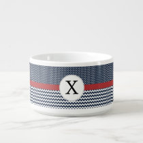 Personalized Navy and white nautical pattern Bowl