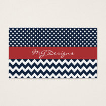 Personalized Navy and white nautical pattern Business Card