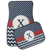 Personalized Navy and white nautical pattern Car Mat