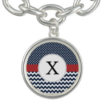 Personalized Navy and white nautical pattern Charm Bracelet