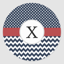 Personalized Navy and white nautical pattern Classic Round Sticker