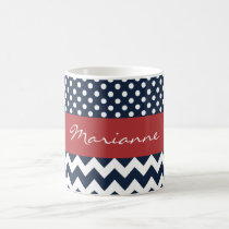 Personalized Navy and white nautical pattern Coffee Mug