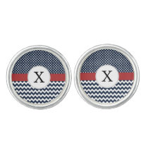 Personalized Navy and white nautical pattern Cufflinks