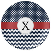 Personalized Navy and white nautical pattern Dinner Plate